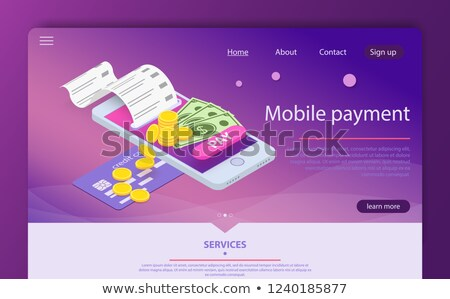 Mobile wallet with money bills and coins Stock photo © kali