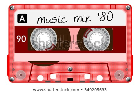 Vetor vermelho cassete etiqueta isolado branco Foto stock © adrian_n
