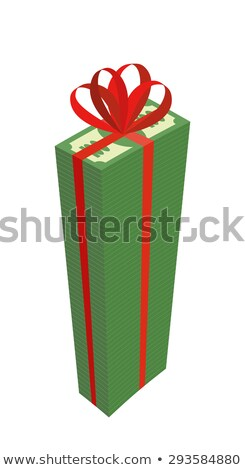 Big wad of money with red bow. High Pile Of Dollars. Gift money. Stock photo © popaukropa