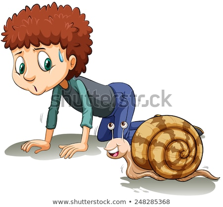 A boy following the snail Stock photo © bluering