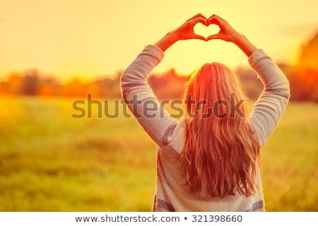 Portré gyönyörű fiatal felnőtt nő ősz park Stock fotó © stevanovicigor