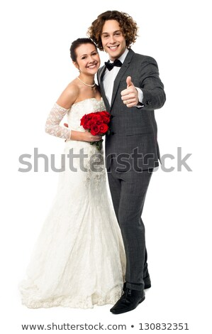 retrato · bastante · recién · casados · ramo · aislado · blanco - foto stock © deandrobot