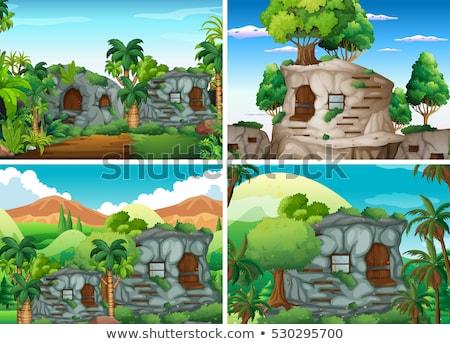 Casa bosques clipart imagen casa ventana Foto stock © vectorworks51