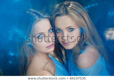 Glimlachend jonge mooie tweelingen mode studio Stockfoto © NeonShot