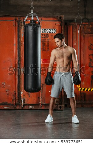 Young concentrated boxer posing in a gym with punchbag Stock photo © deandrobot