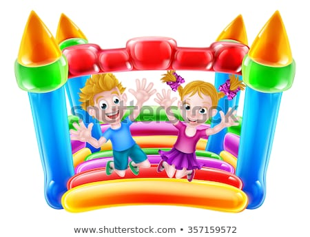 Two kids bouncing on the rubber house Stock photo © bluering