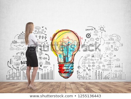 üzlet kreativitás villanykörte kezek üzletasszony ragyogó Stock fotó © stevanovicigor