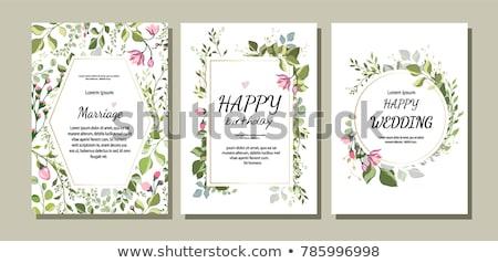 Tarjeta plantilla flores silvestres marco ilustración flor Foto stock © bluering