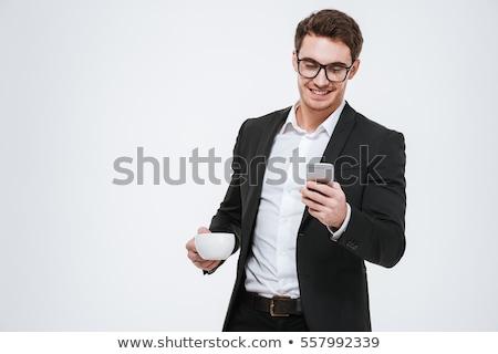 occhiali · Cup · nero · tè · top · view - foto d'archivio © deandrobot