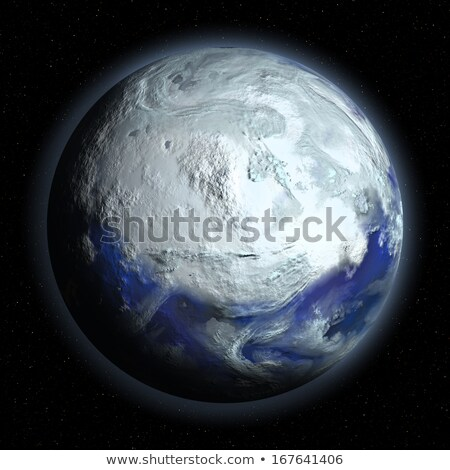 Illustration of Frozen Earth in space. on a black background Stock photo © tussik