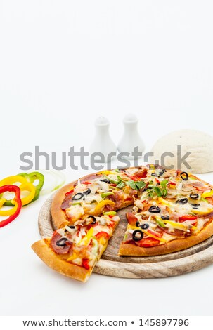 Slice of Pepperoni and Pepper Pizza with Salad Stock photo © monkey_business