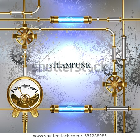 Industrial background with manometer and electric lamp Stock photo © blackmoon979