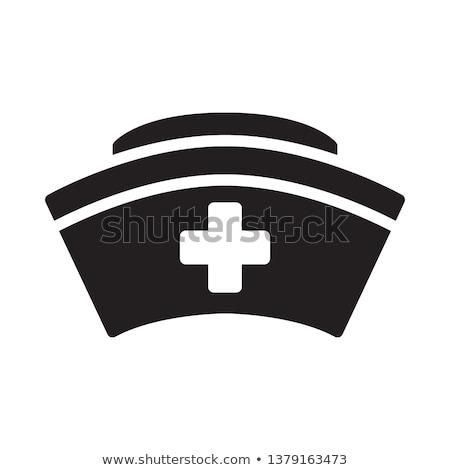 медсестры Cap икона стиль голубой крест Сток-фото © ylivdesign