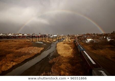 szivárvány · jávorszarvas · állkapocs · Saskatchewan · égbolt · épületek - stock fotó © pictureguy