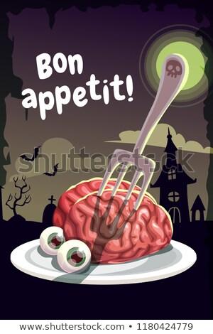 Halloween menü emberi agy illusztráció éjszaka agy Stock fotó © adrenalina