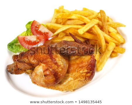 fried chicken with french fries and salad Stock photo © M-studio