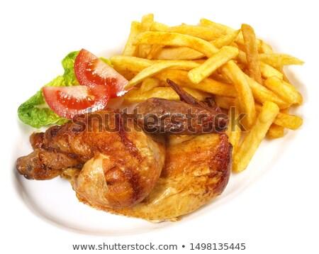 куриные · фри · картофель · фри · металл · зеленый · обеда - Сток-фото © m-studio