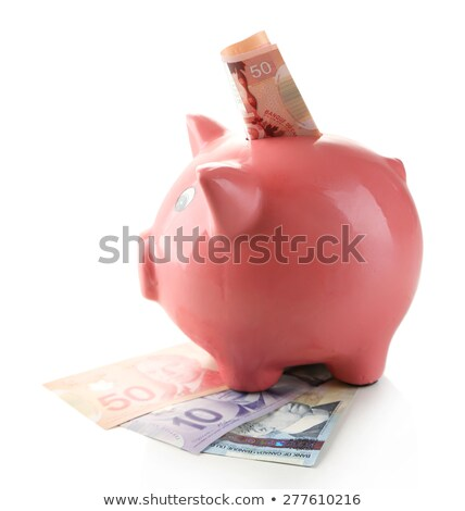 Zdjęcia stock: Piggy Bank And Canadian Dollars