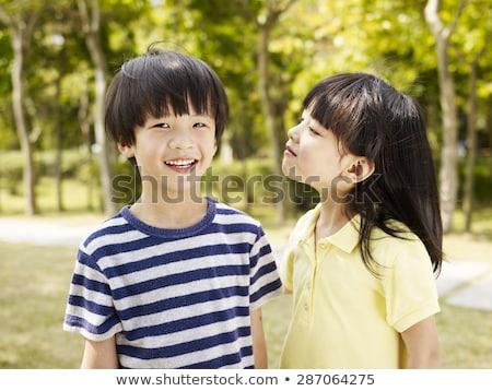 Erkek kız mutlu çocuk arka plan sanat Stok fotoğraf © bluering