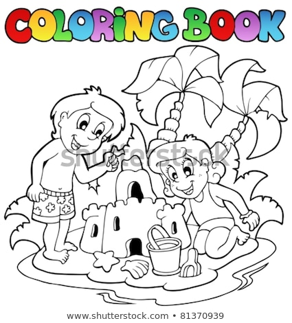coloring book children and sand castle stock photo © clairev