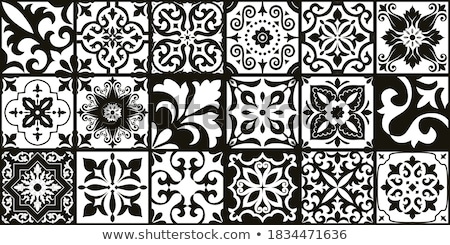 Azulejo - Portuguese tile design, seamless vector black and white pattern, retro mosaics set Stock photo © RedKoala