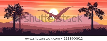 banner with prehistoric landscape and dinosaurs. Stock photo © curiosity