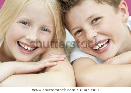 Two happy kids with big smile Stock photo © bluering