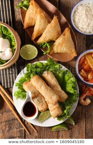 samosa, spring roll and fried shrimp Stock photo © M-studio