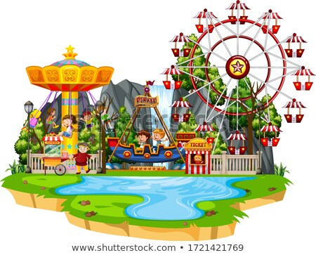 Many children playing rides at funpark Stock photo © bluering