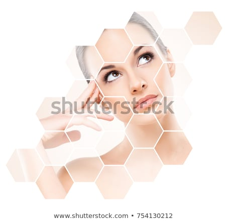 belo · mulher · jovem · cirurgia · plástica · operação · tocante · cara · da · mulher - foto stock © artfotodima