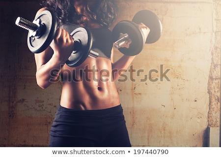 セクシー · フィットネス女性 · 訓練 · ダンベル · 美人 · 座って - ストックフォト © chesterf