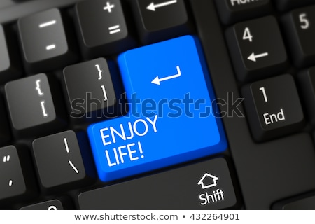 Cieszyć się życia klawiatury 3D aluminium Zdjęcia stock © tashatuvango