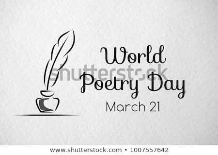 Tebrik kartı dünya şiir gün tatil ikon Stok fotoğraf © Olena