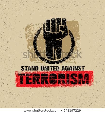 stoppen · terrorisme · gedetailleerd · illustratie · Rood · teken - stockfoto © olena