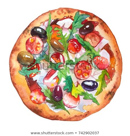 Pizza couleur pour aquarelle illustration blanche alimentaire restaurant Photo stock © jara3000