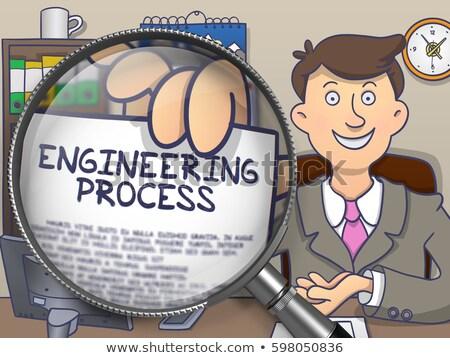 Techniczne utrzymanie lupą gryzmolić projektu papieru Zdjęcia stock © tashatuvango