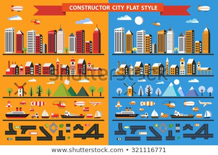 City constructor flat line. Stock photo © Yuriy
