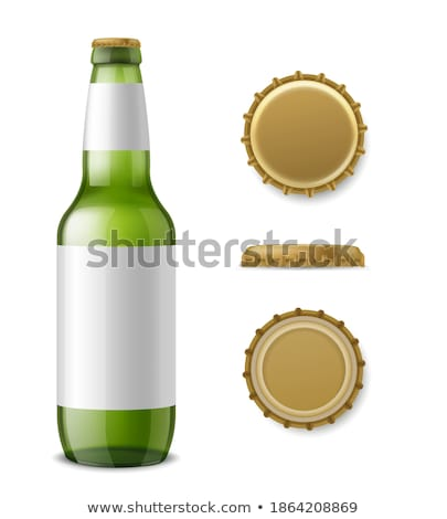Vector Realistic beer metallic bottle and glass. Brand packaging Stock photo © frimufilms