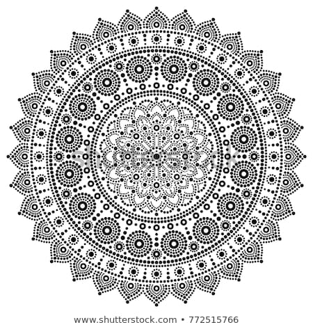 Mandala vector monochrome design, Aboriginal dot painting style, Australian folk art boho style Stock photo © RedKoala