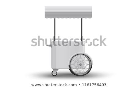 ijs · winkelwagen · illustratie · geïsoleerd · witte · man - stockfoto © konturvid