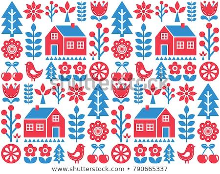 Nordic, Scandinavian inspired folk art seamless pattern - Finnish vector design in blue and red Stock photo © RedKoala