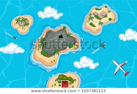 Océano escena volcán isla ilustración cielo Foto stock © bluering