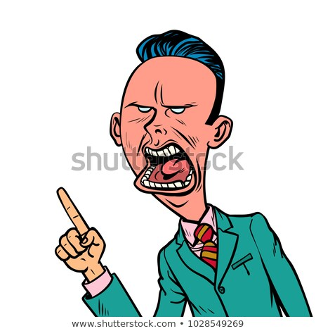 angry skeptical businessman points finger gesture stock photo © rogistok
