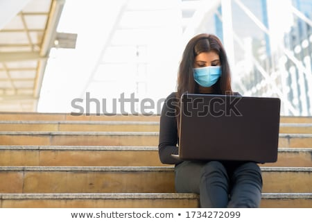 Laptop on a footbridge Stock photo © mikdam