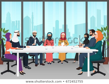 Business meeting arabic men in national clothes Stock photo © studioworkstock