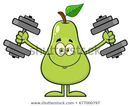 Uśmiechnięty zielone gruszka owoców liści maskotka cartoon Zdjęcia stock © hittoon