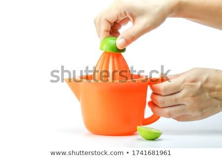 Friss nyers hámozott narancsok kéz dzsúz Stock fotó © DenisMArt
