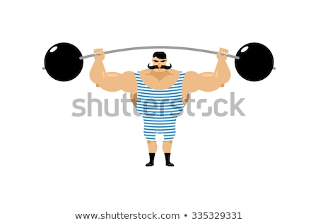 Retro strongman and weight. Vintage Sportsman. Circus bodybuilde Stock photo © popaukropa