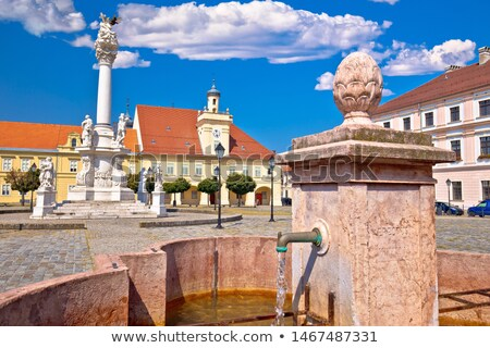old paved street and fountain in tvrdja historic town of osijek stock photo © xbrchx