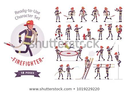 Man Fire Fighter Pose Illustration Stock photo © lenm